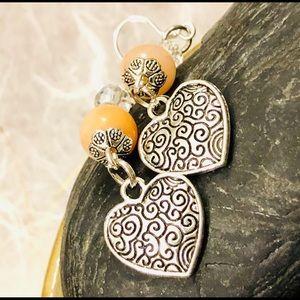 Antiqued Silver Heart Earrings w Pink Adventurine